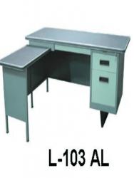 Jual Meja Kantor Besi Dengan Laci + Meja Samping type L-103 AL Murah Di Surabaya